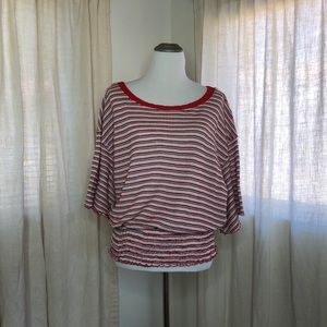 Free People Striped waffle knit short sleeve top